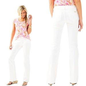 NWT Lilly Pulitzer Worth Flare Jeans, White, 00